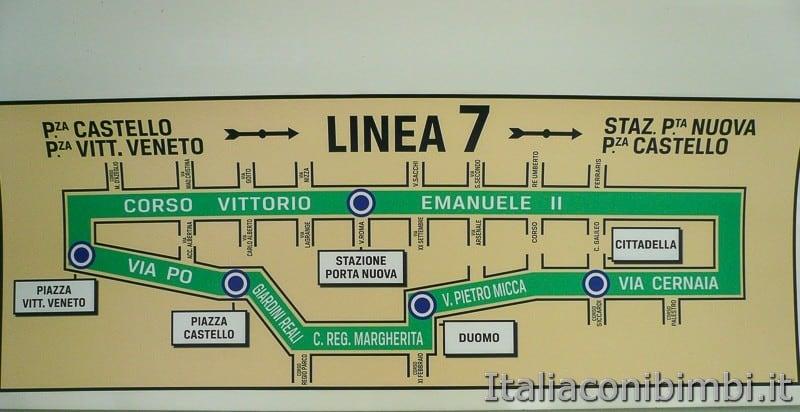Torino - tram storico numero 7 mappa percorso