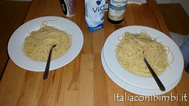 spaghetti che abbiamo cucinato all'ostello Five Reasons di Norimberga