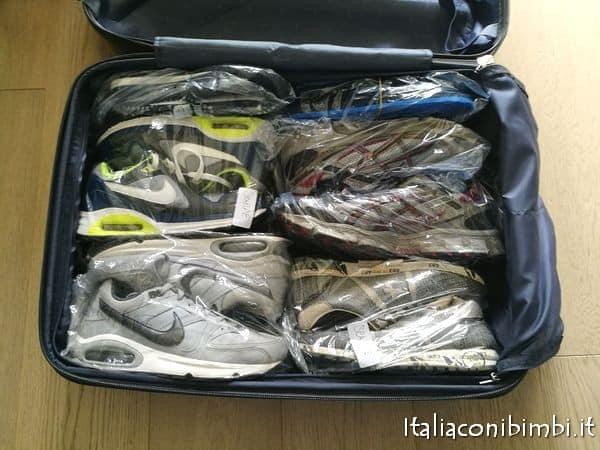 scarpe come metterle in valigia
