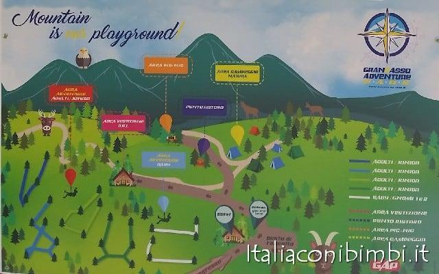 Parco avventura Gran Sasso mappa