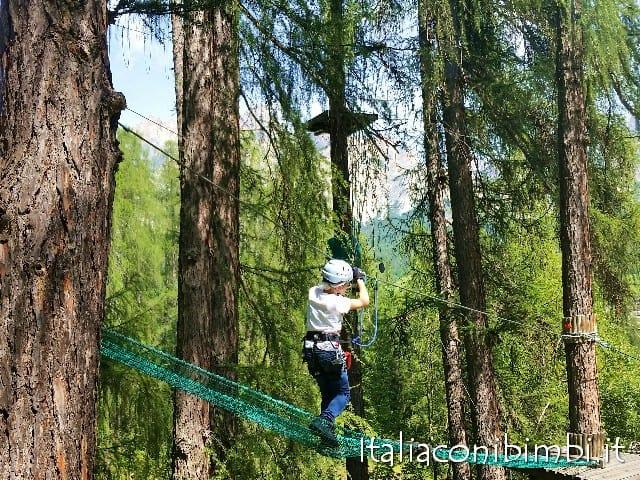 Parco avventura Cortina d'Ampezzo con bambini