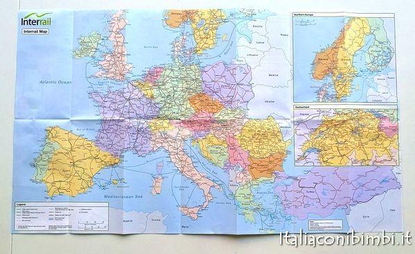 mappa dell'Europa nel pacchetto Interrail