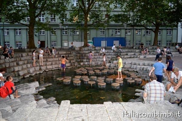 giochi d'acqua Monaco davanti al Duomo