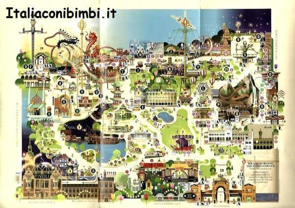 mappa del Tivoli di Copenaghen