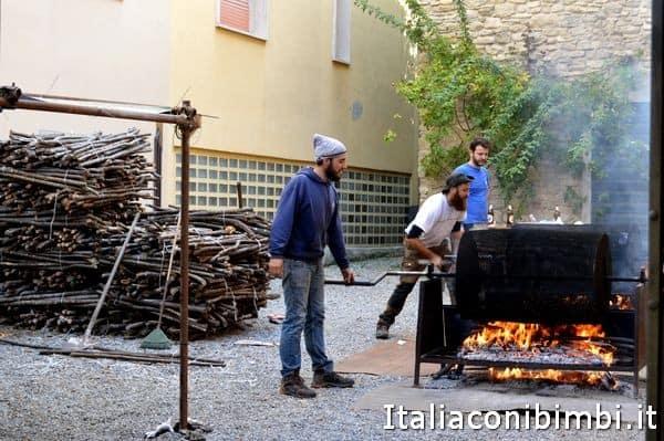 cottura delle castagne alla sagra di Marradi