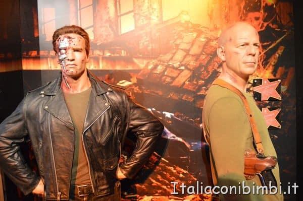 Arnold Schwarzenegger e Bruce Willis al Madame Tussauds di Londra