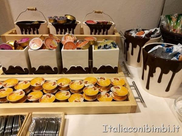 buffet della colazione al Choco Hotel di Perugia