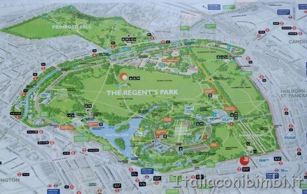 mappa del Regent's Park