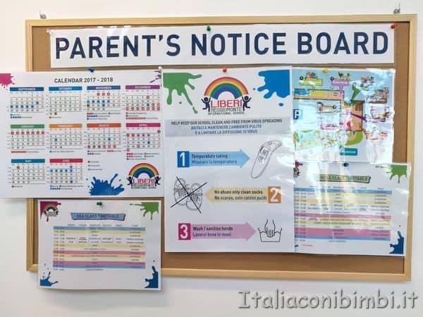 bacheca scuola infanzia Rainbow