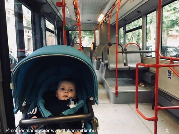 in autobus a Roma con i bambini