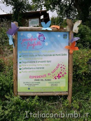 Giardino delle farfalle di Cessapalombo ingresso