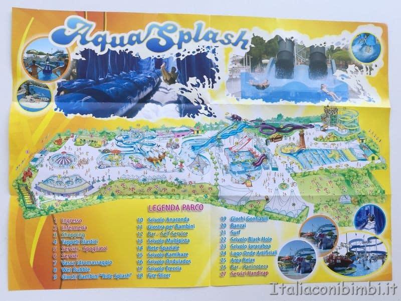 mappa con gli scivoli Aquasplash Lignano Sabbiadoro