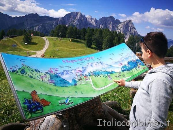mappa del regno del Salvan al Buffaure in Val di Fassa