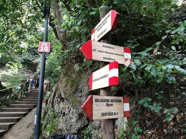 indicazioni sentieri cascata delle Marmore