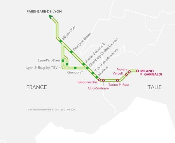 mappa delle fermate del TGV Milano Parigi