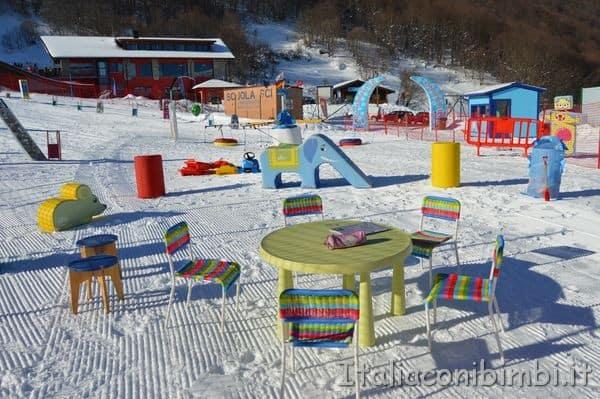 giochi per bambini Monte Pratello sciare in Abruzzo