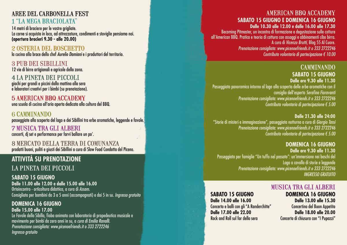 Programma del Carbonella Fest sul Lago di Gerosa