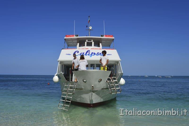Rilascio della tartaruga - arrivo dela nave Calypso