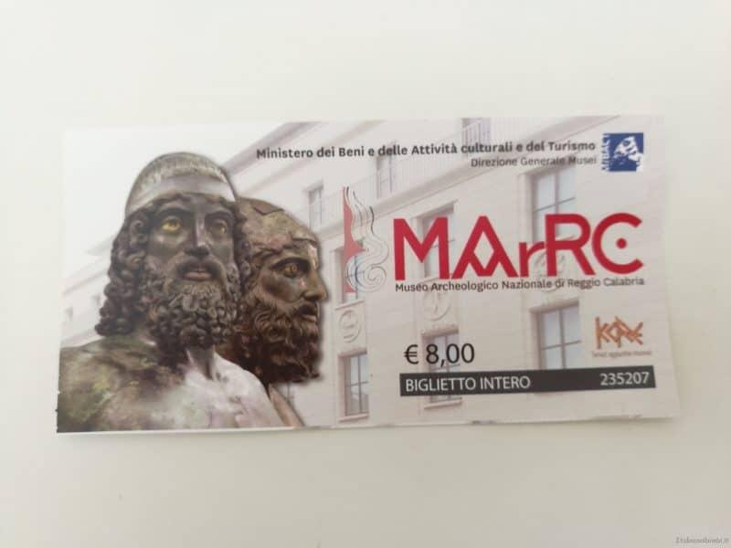 biglietto del Museo Archeologico Nazionale- Reggio Calabria