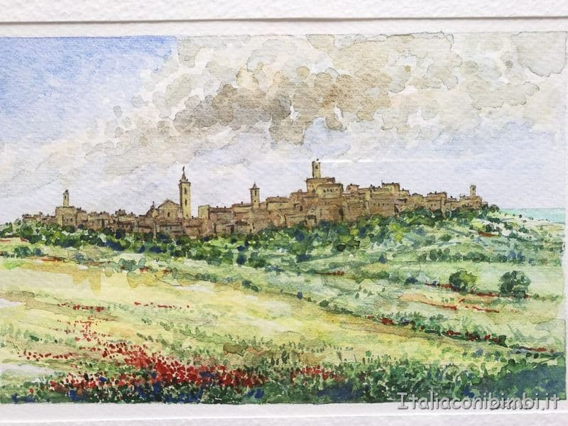 Ripatransone - acquerello della mostra di Cellini