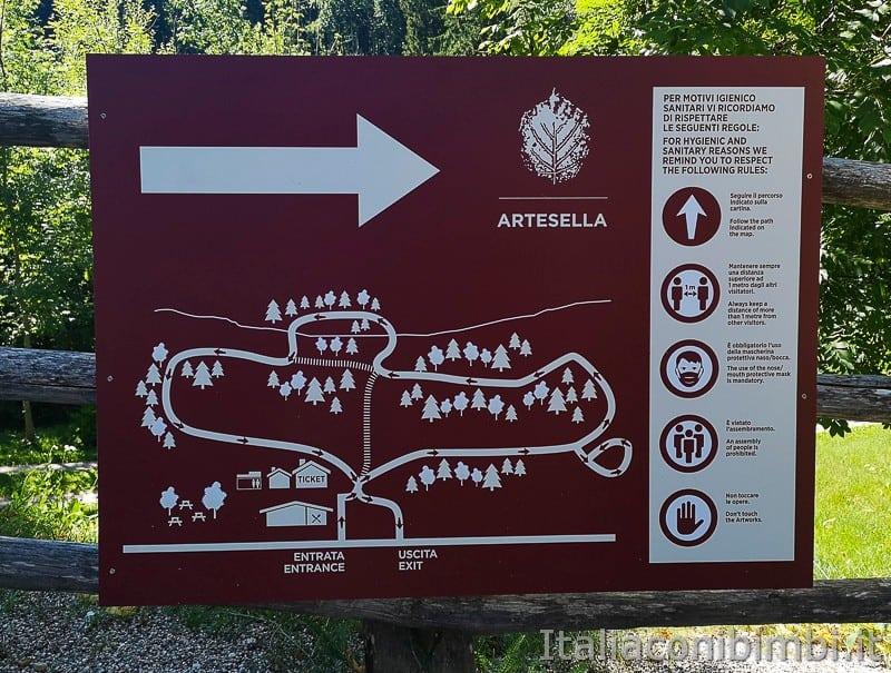 Arte Sella Valsugana- mappa del percorso.