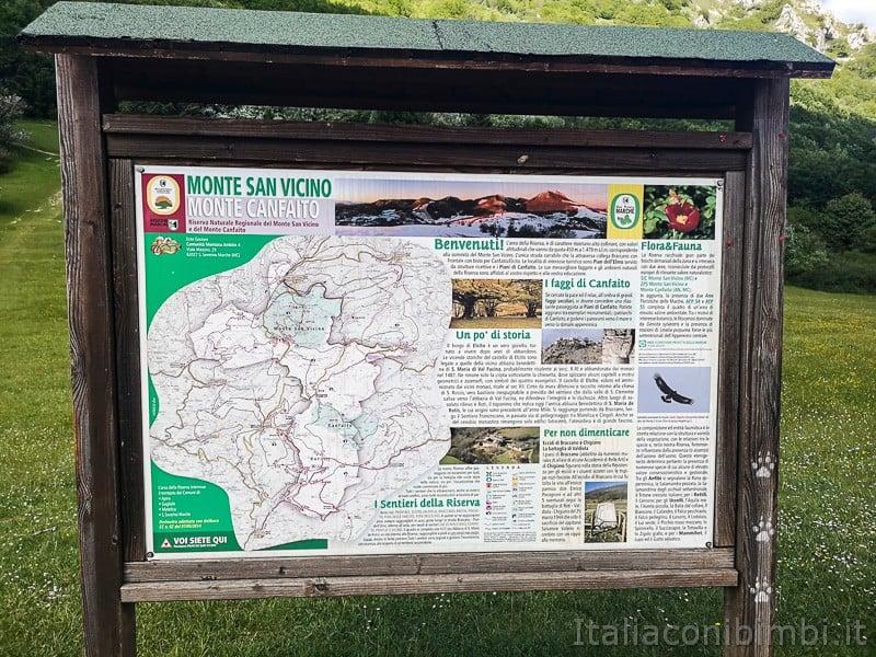 Faggeta di Canfaito- cartello percorsi Monte Canfaito e Monte San Vicino