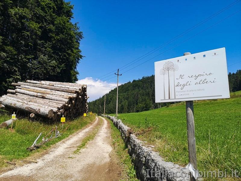 Sentiero il Respiro degli alberi- insegna inizio percorso