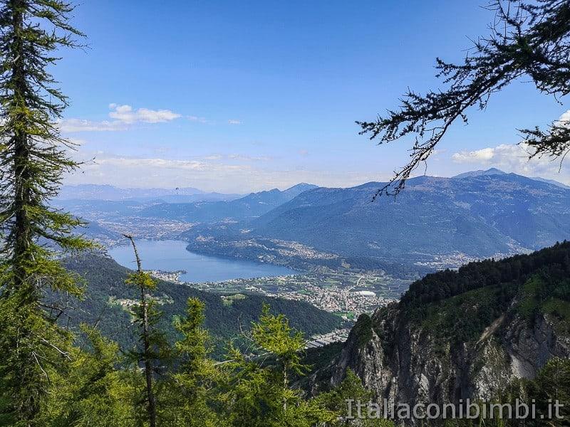 Sentiero il Respiro degli alberi- vista sul lago di Caldonazzo