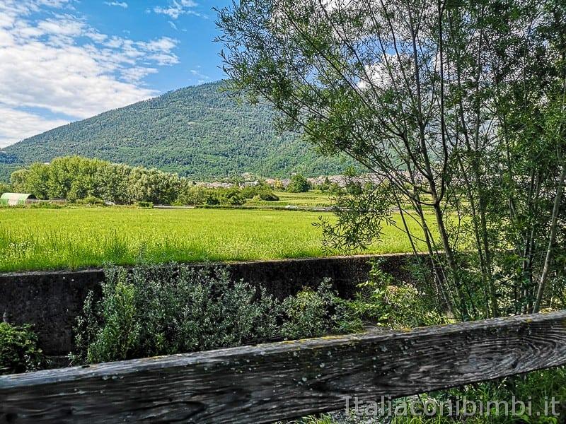Ciclabile della Valsugana- vista sui campi e sulle montagne
