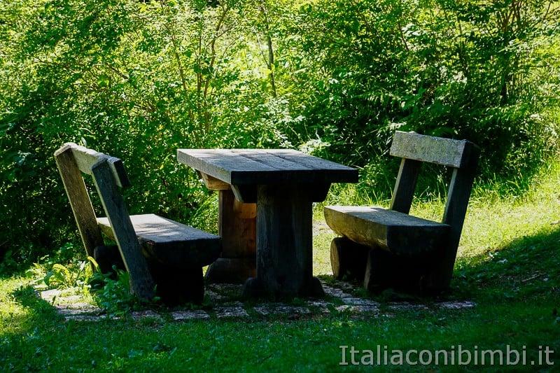 Sentiero dell'Immaginario Alpe Cimbra- area picnic vicino all'orso