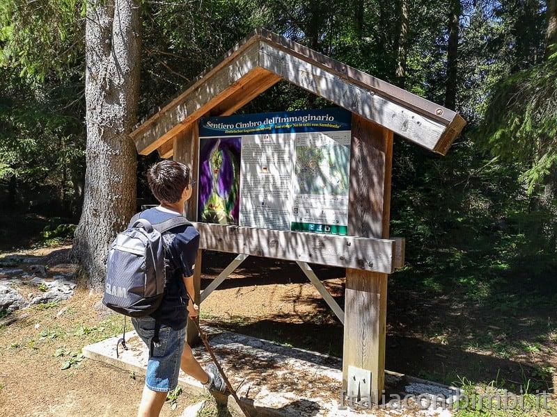 Sentiero dell'Immaginario Alpe Cimbra- bimbo che legge la fiaba cimbra