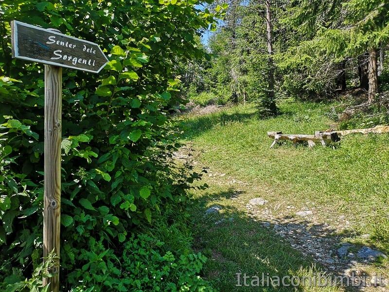 Sentiero delle Sorgenti - Alpe Cimbra- indicazioni