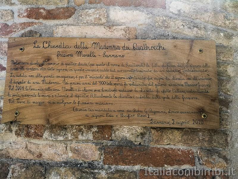 cascatelle di Sarnano- chiesetta della Madonna dei quattrocchi targa