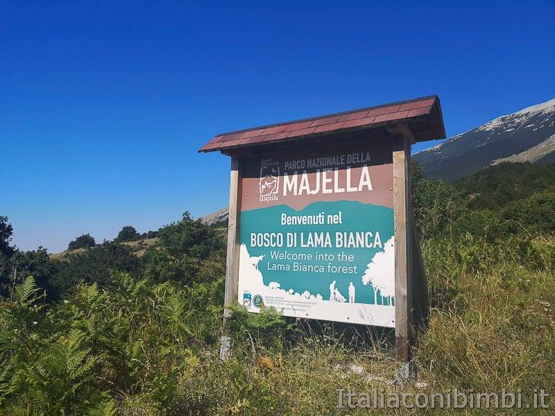 Lama Bianca Majella- cartello sentiero