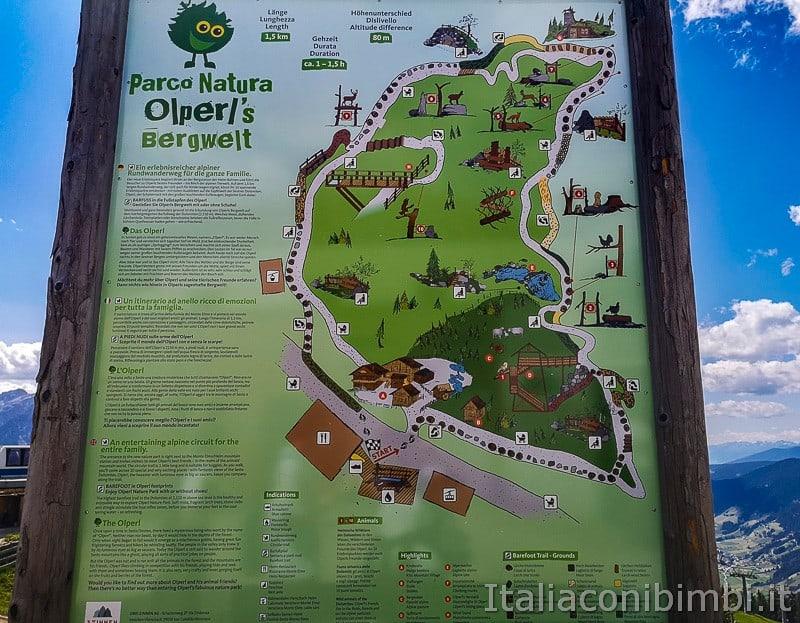 Parco natura Olperl Monte Elmo- mappa dei giochi