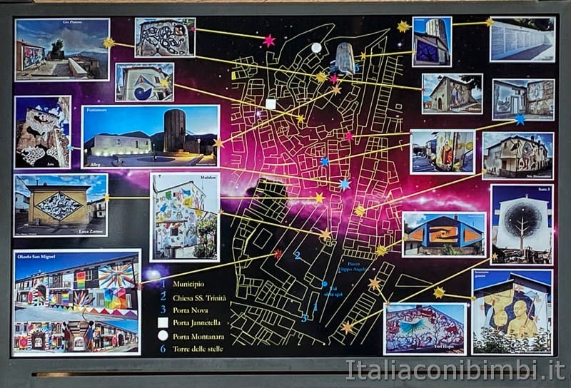 Aielli - mappa dei murales di Borgo Universo