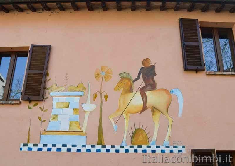Braccano - murales cavaliere