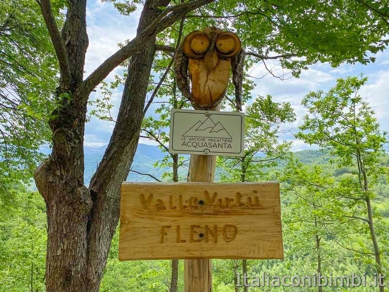 Anello Fleno San Gregorio - cartello mulattiere di Acquasanta