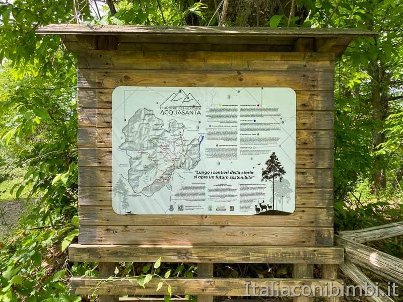 Anello Fleno San Gregorio - mappa dei sentieri mulattiere di Acquasanta