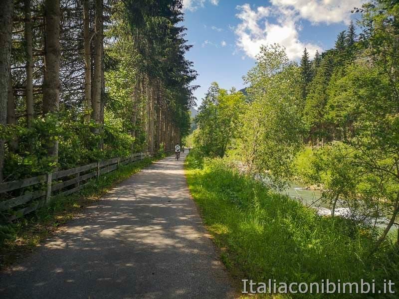 Ciclabile San Candido Lienz - percorso nel bosco
