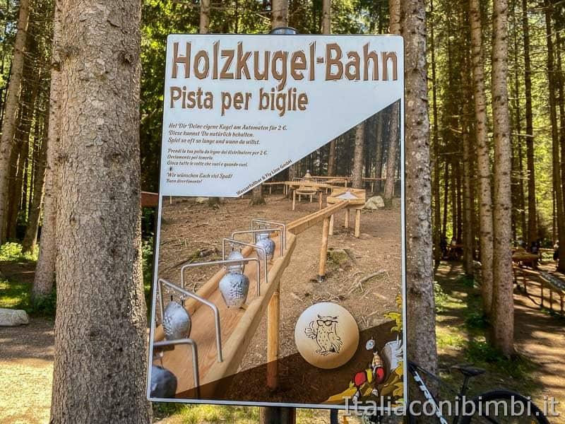 Cascate di Riva - Valle Aurina - cartello pista per biglie