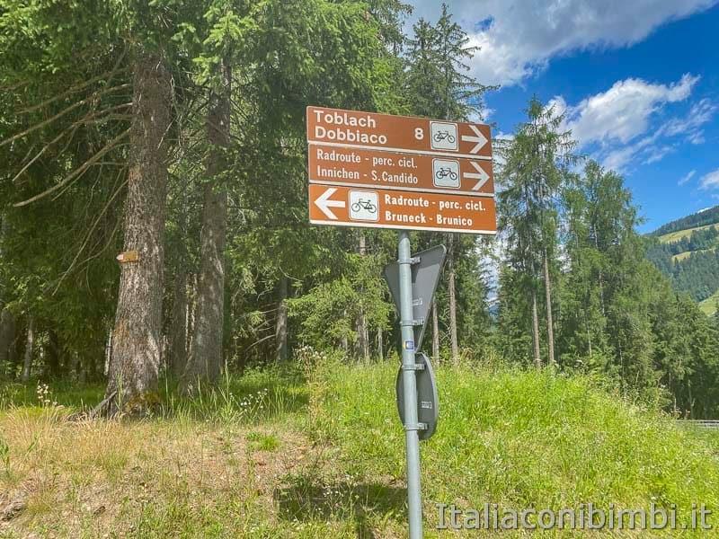 Pista ciclabile San Candido - Brunico - cartelli