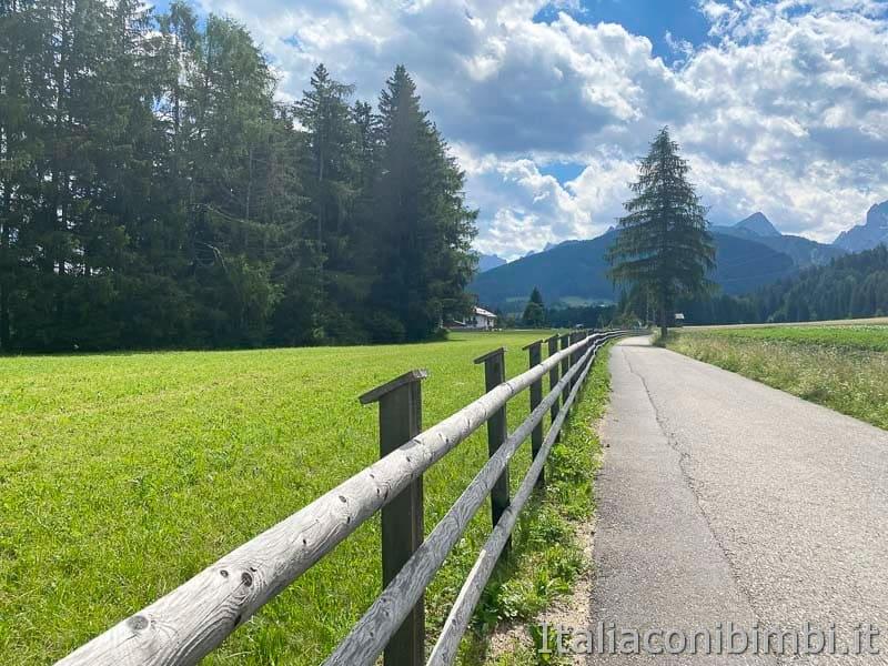 Pista ciclabile San Candido - Brunico - steccato e prati