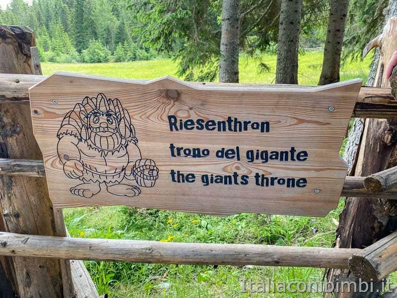 Regno del Gigante Baranci - cartello trono del gigante