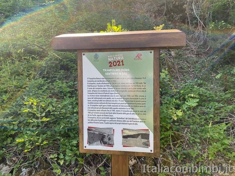 Roccaraso - sentiero 101 cartello trampolino Roma