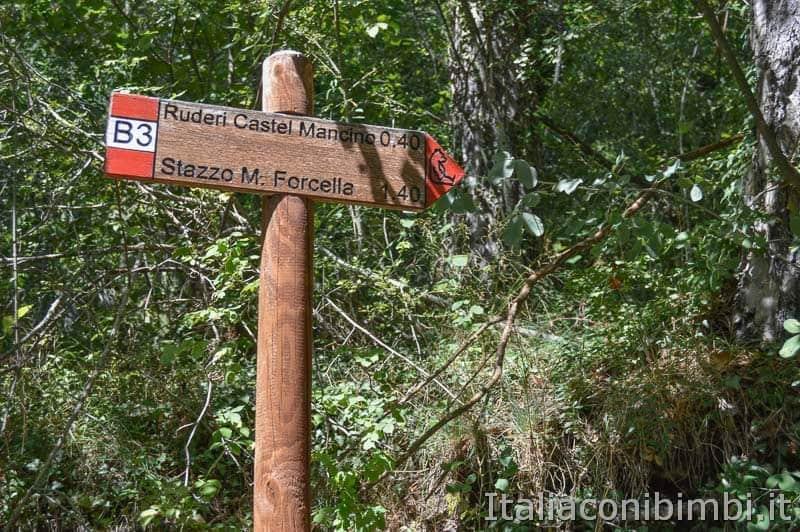 Sentiero B3 per Castel Mancino - Pescasseroli - cartello