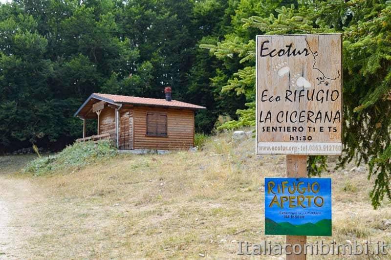 Sentiero Rifugio Cicerana - Abruzzo - cartello