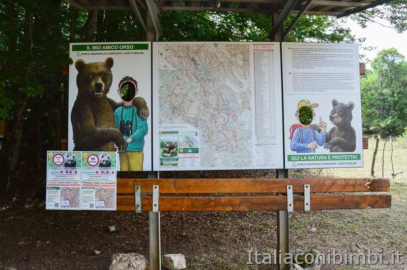 Sentiero Rifugio Cicerana - Abruzzo - cartellone orsi
