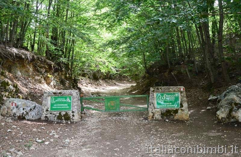 Sentiero Rifugio Cicerana - Abruzzo - inizio percorso