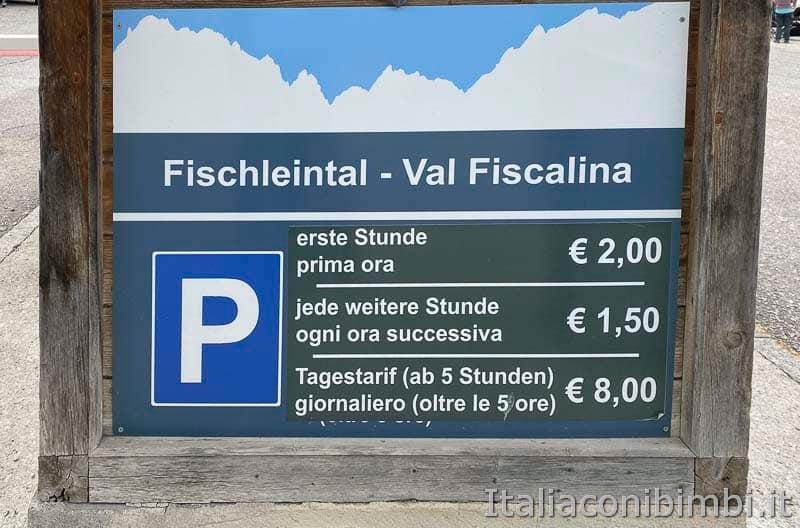 Val Fiscalina - costo del parcheggio
